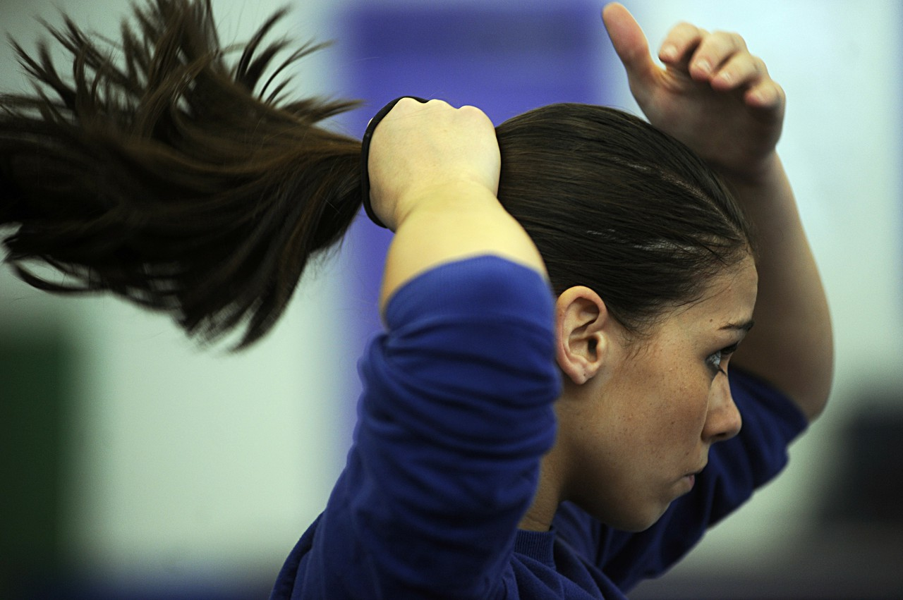 Katie Dalton 14 Fixes Her Hair During Cheerleading Practice Frequently Plays With Taking Out Ponytail And Putting It Back Up